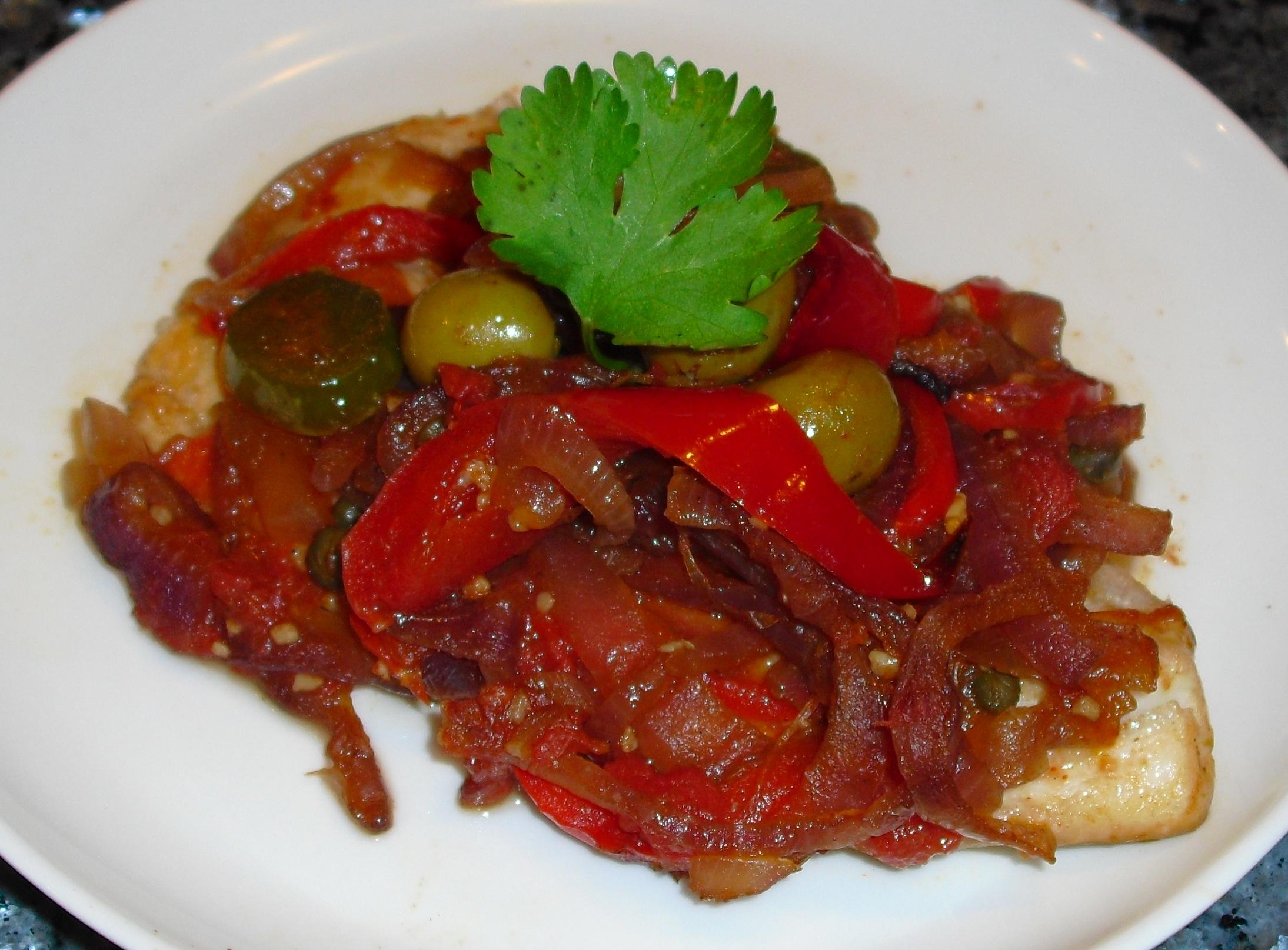 Spicy veracruz style fish bake recipe quick cooking for Fish veracruz recipe