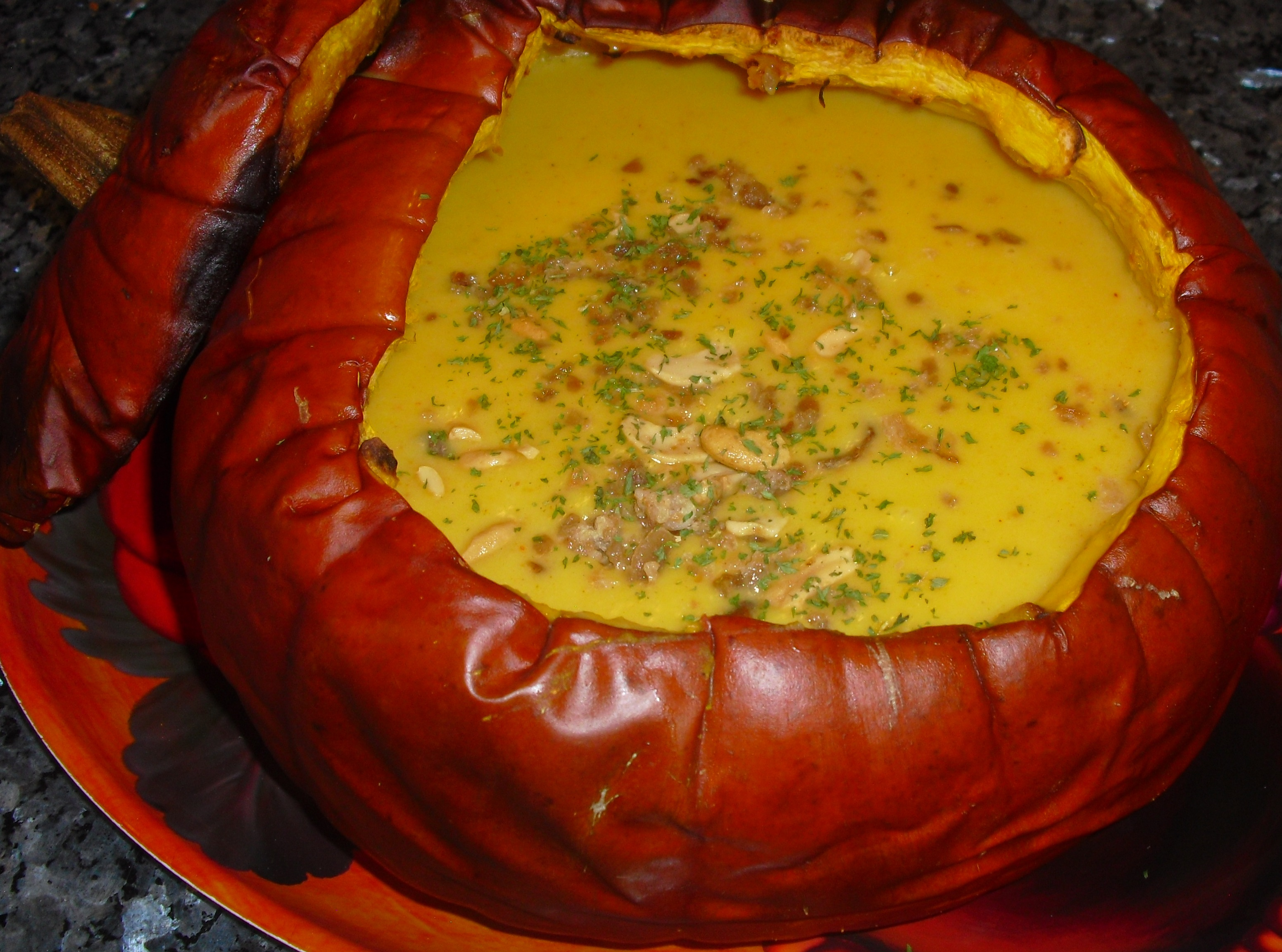 Curried Pumpkin Soup Baked in a Pumpkin